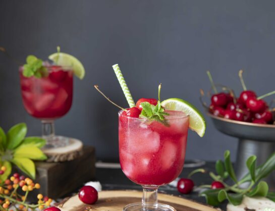 Cherry mocktail with cloves and anise seeds