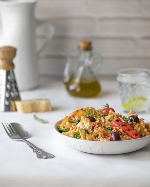 Pasta salad full mediterranean flavors